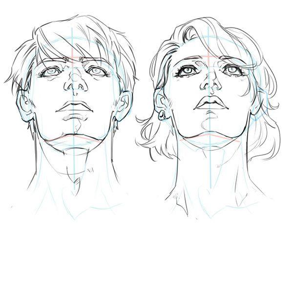 構造から理解しよう あおりと俯瞰 フカン のついた顔の描き方 いちあっぷ 見上げる イラスト 顔のスケッチ 顔 描き方