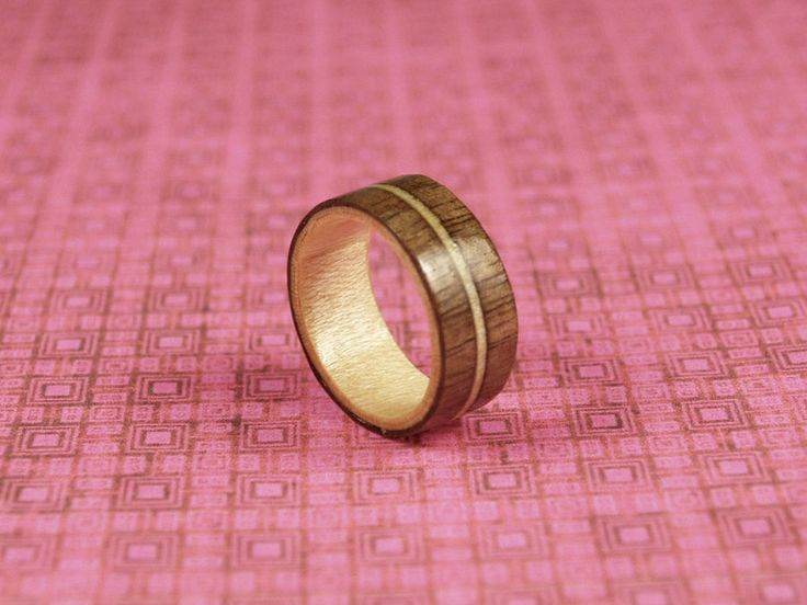 Wood Inlay ring | - material: wood | First time making a wood inlay ring.