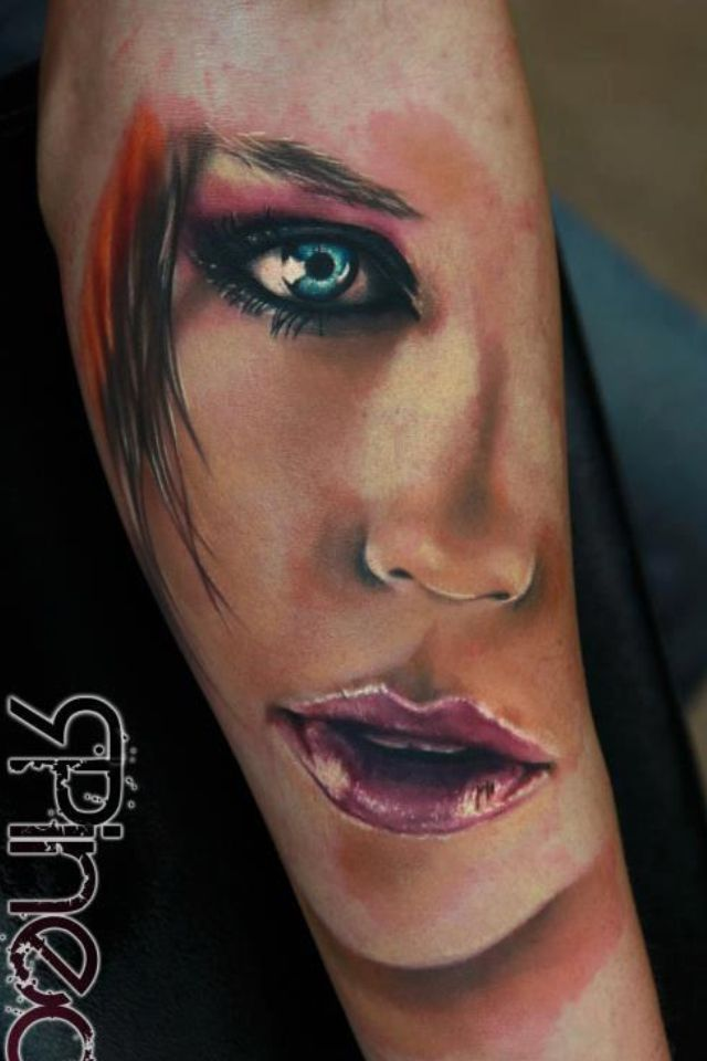 Lovely Realistic Portrait Tattoo.