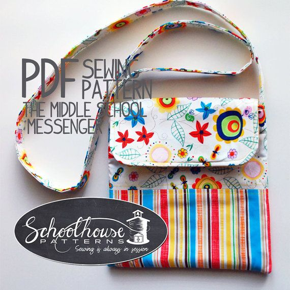 The Middle School Messenger bag sewing pattern - great for young girls, tweens, teens - PDF INSTANT DOWNLOAD