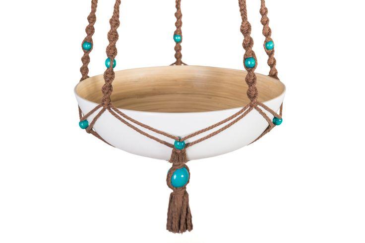 Modèle GAÏA ByMadjo Coton marron Perles turquoise Saladier en bambou Ikea laqué blanc