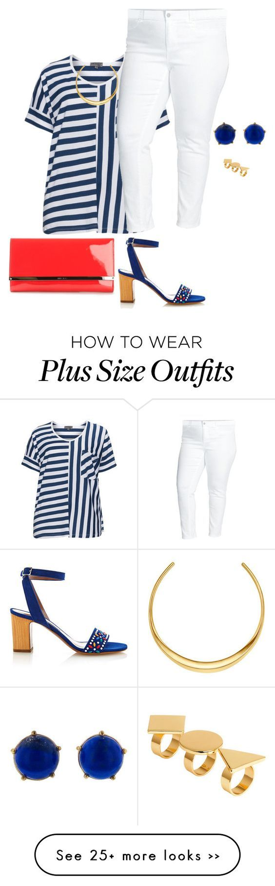 """my plus size red white and blue"" by kristie-payne on Polyvore:"