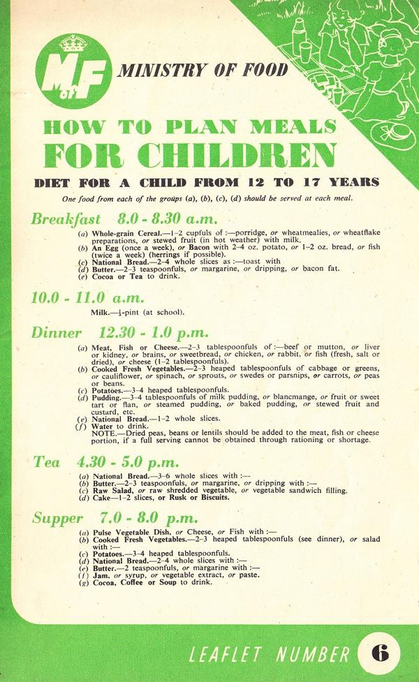 How To Plan Meals For Children during the second world war