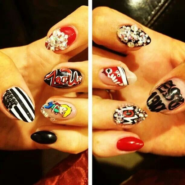 Mgk nails...  LUV these gotta do mine like this for my first MGK concert  it's gonna happen