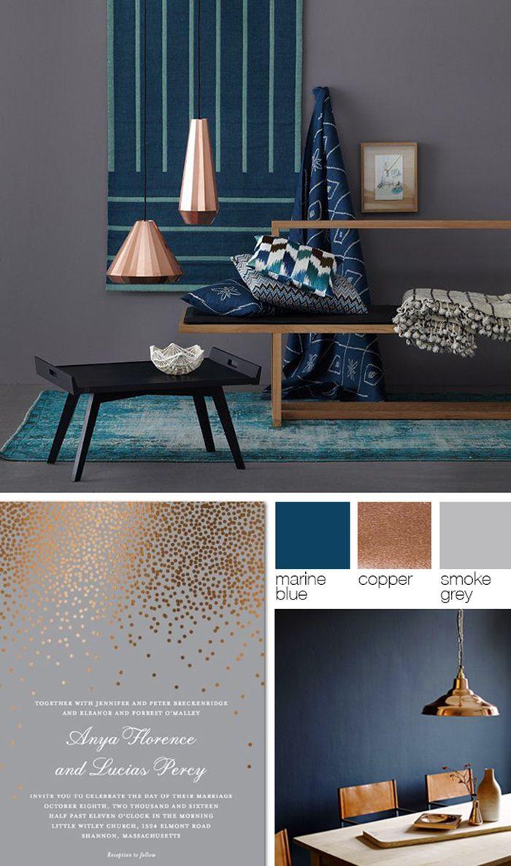 Copper, grey, and blue color palette
