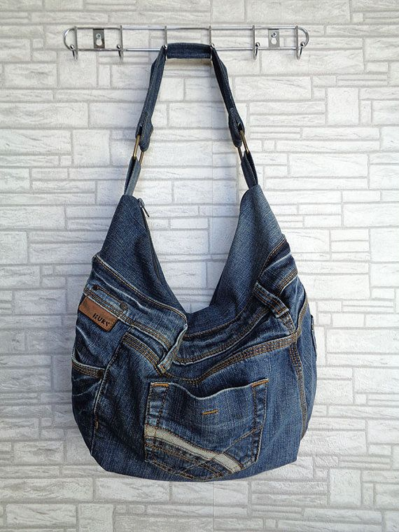 Slouchy shoulder bag handbag purse recycled upcycled jeans by BukiBuki