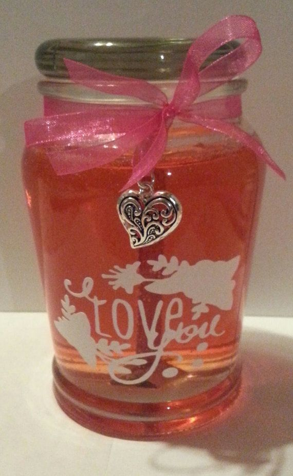 15 oz peach scented gel candle with heart by NorthStarCandleLight, $15.95
