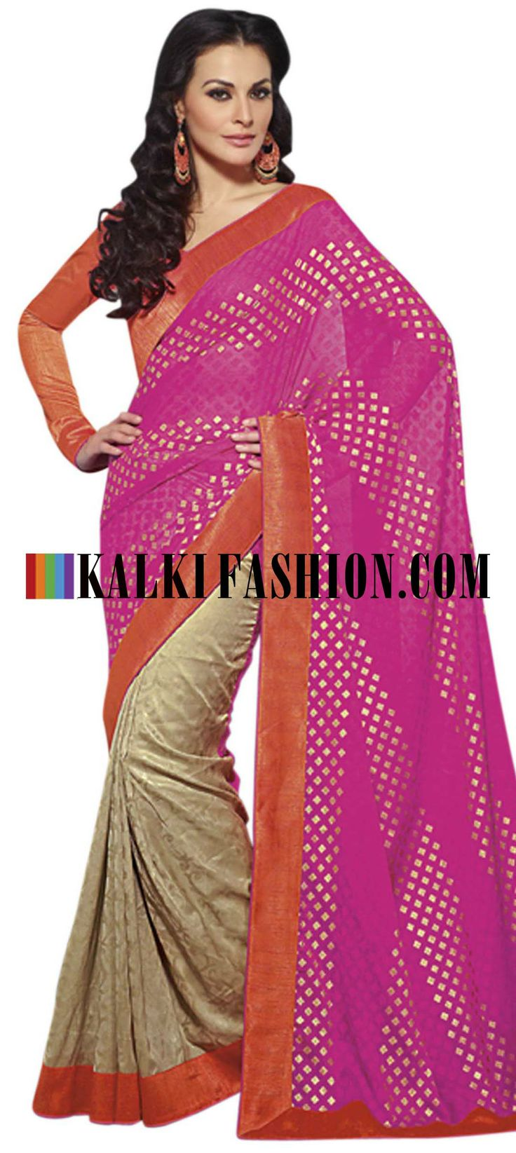 Buy Online from the link below. We ship worldwide (Free Shipping over US$100) http://www.kalkifashion.com/half-and-half-saree-in-pink-and-beige-with-raw-silk-border.html Half and half saree in pink and beige with raw silk border