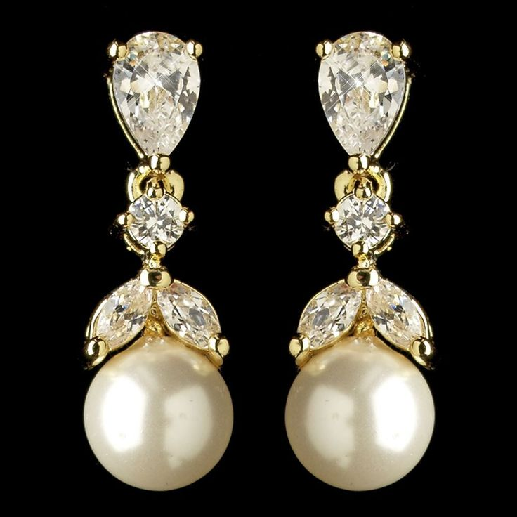 Gold Plated CZ and Diamond White Pearl Wedding Earrings - beautiful for Fall wedding brides, bridesmaids or MOBs! - Affordable Elegance Bridal -