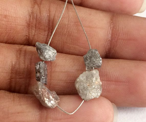 4 Pcs Rough Diamond Beads Drilled Grey Diamond by gemsforjewels