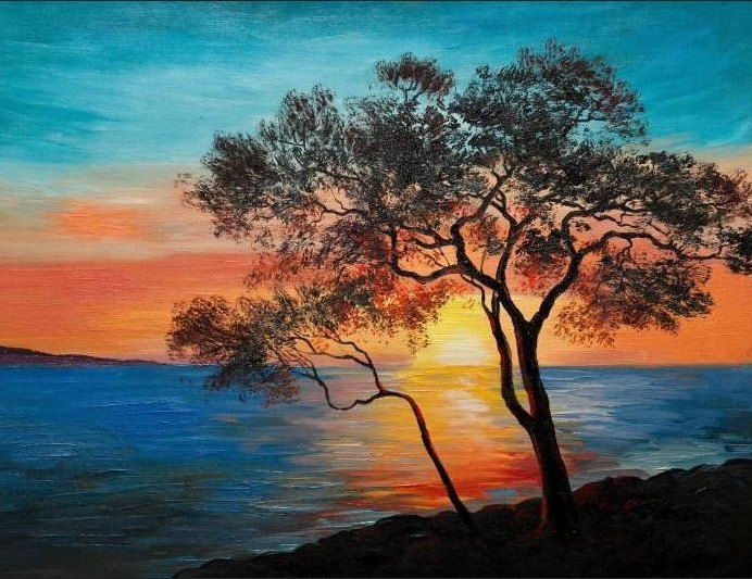 Lukisan Pemandangan Alam Yang Mudah 8 Seni Cat Air Ilustrasi