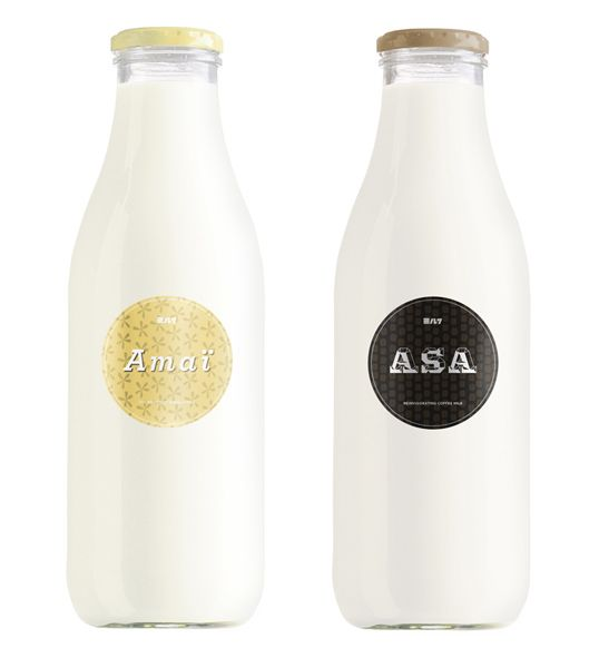 "Gorgeously elegant concept packaging by Michela Monterosso—flavoured milk with Japanese names. On left: Amai (""sweet"", the vanilla flavour) and Asa (""morning"", the coffee one). #typography #circles #package_design #bottles #brown #yellow #slab_serif #display #patterns"