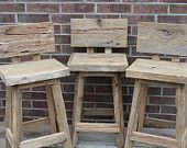 """YOUR Reclaimed Rustic and Recycled Oak Barn Wood 33""""-36"""" inch tall Rectangle Top Bar Stool. $125.00, via Etsy."""