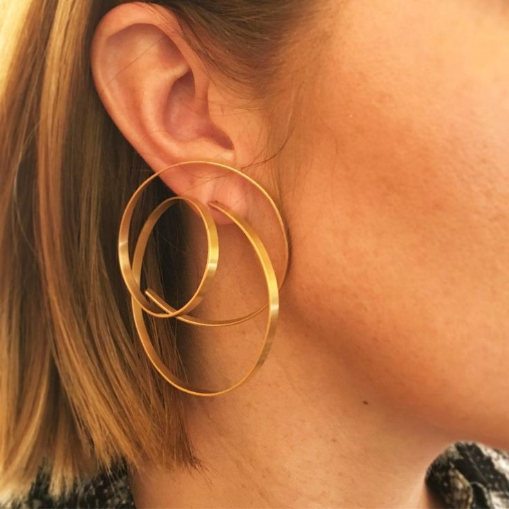 Introducing the designs of Lara Koulajian: 'Les Bouches de la Chanteuse' Gold Hoop Earrings #ForSale #FDGallery