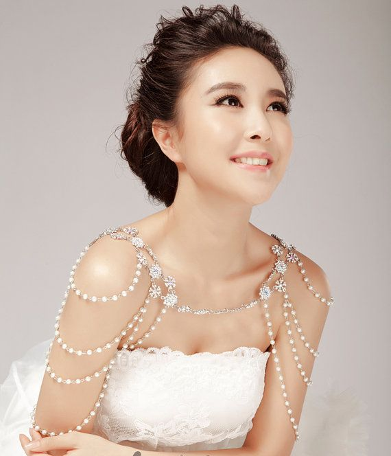 wedding bridal necklace   bridal Shoulders Necklace, Shoulder Chain  white crystal pearl neck lace