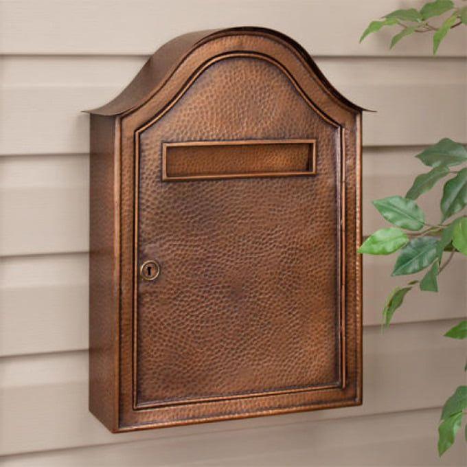 Grid Wall Mount Brass Mailbox Antique Brass Outdoor Wall Mount Mailbox Mounted Mailbox Copper Mailbox