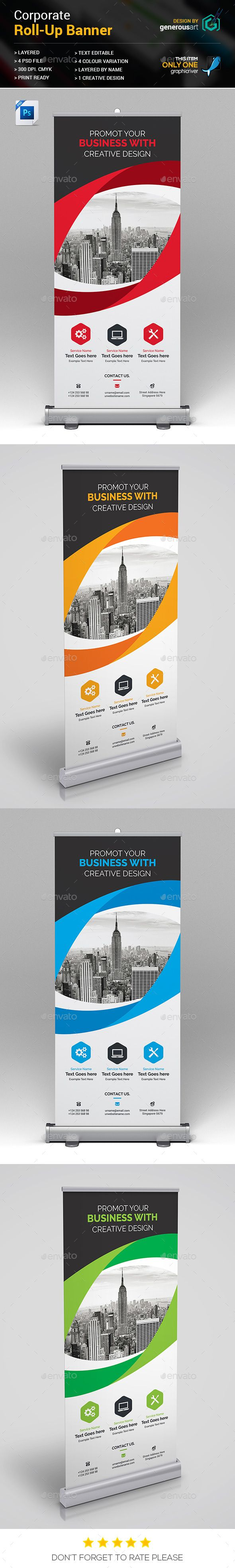 RollUp Banner — Photoshop PSD #creative #black • Available here → https://graphicriver.net/item/rollup-banner/18708680?ref=pxcr