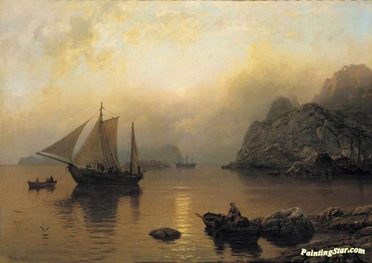 Fishing party at sunrise Artwork by Hans Fredrik Gude Hand-painted and Art Prints on canvas for sale,you can custom the size and frame