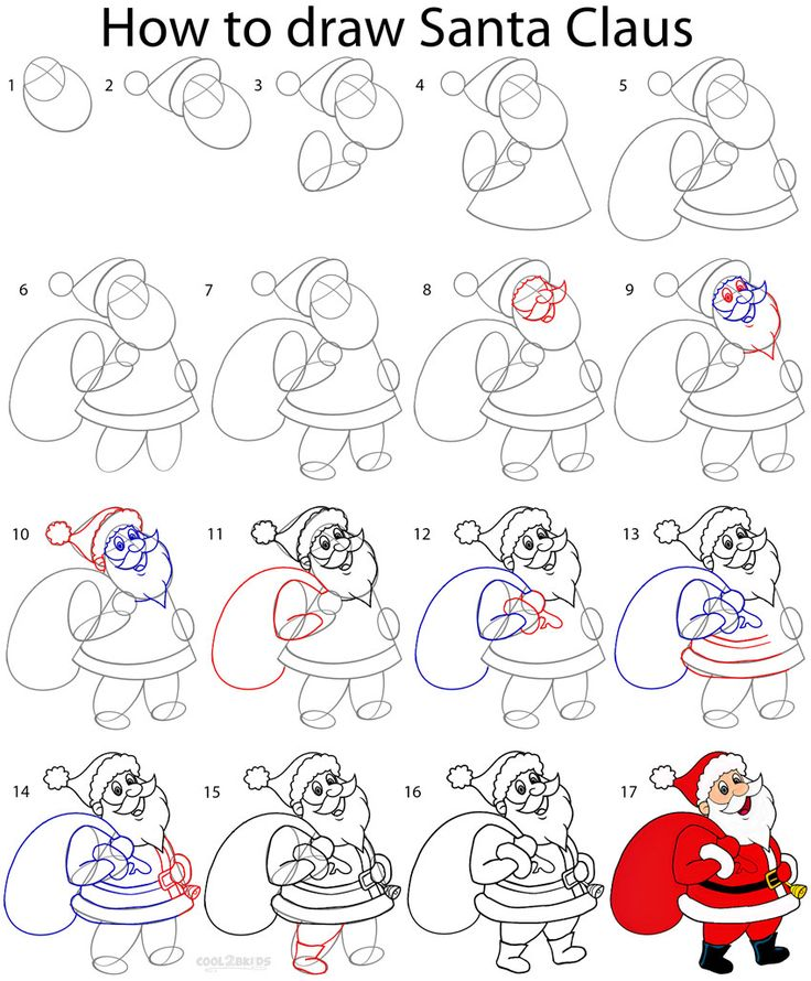 How to Draw Santa Clause Step by Step Drawing Tutorial with Pictures | Cool2bKids