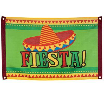 Fiesta vlag met Mexicaanse hoed. Feestelijke Mexico vlag met daarop een sombrero en in grote letters Fiesta! De Mexico fiesta vlag is ongeveer 60 x 90 cm groot en gemaakt van polyester materiaal.
