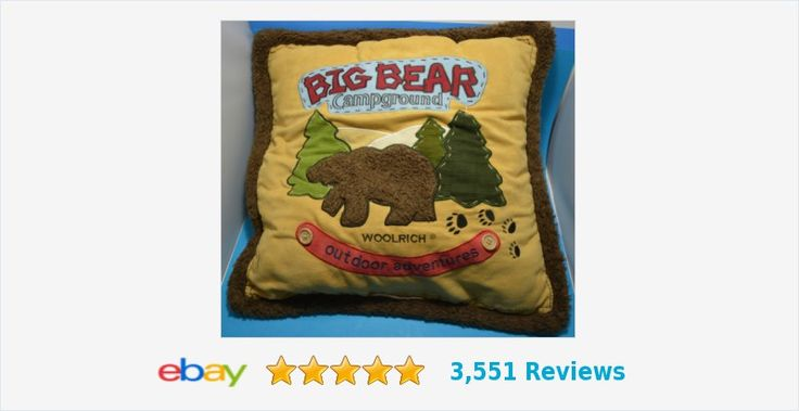 "WOOLRICH Big Bear Campground Throw Pillow 18"" Cabin Lake Lodge Outdoors 