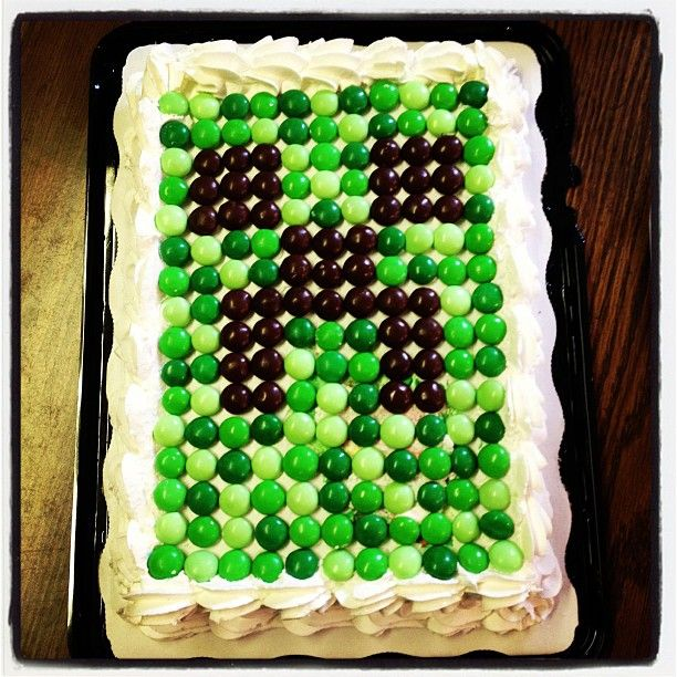 Minecraft Birthday Cake with M's!  Great and easy for Kai's birthday!