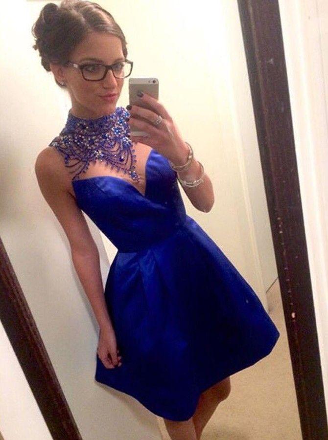 dress, prom dress, blue dress, royal blue dress, high neck dress, short dress, short prom dress, blue prom dress, royal blue prom dress, sleeveless dress, dress prom, royal blue short dress, dress blue, prom dress short, high neck prom dress, short blue dress