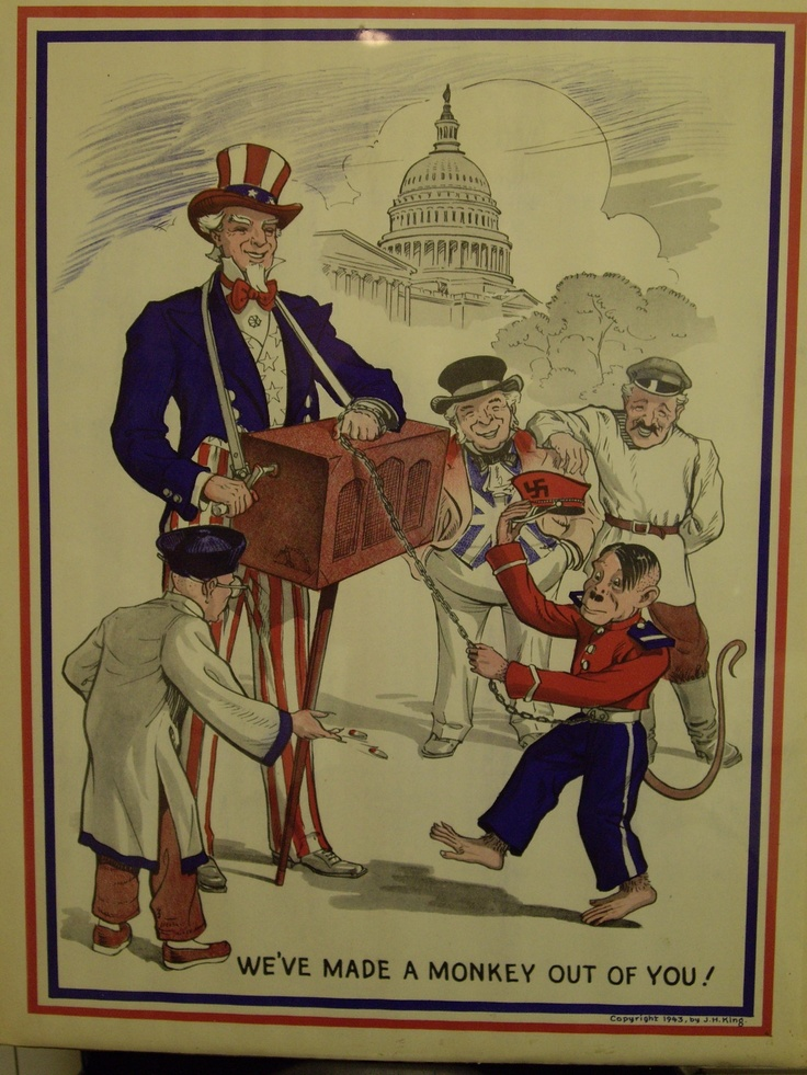 "Uncle Sam WW II Poster ""We've Made A Monkey Out of You "" 1943 J H King MilitaryWwii"