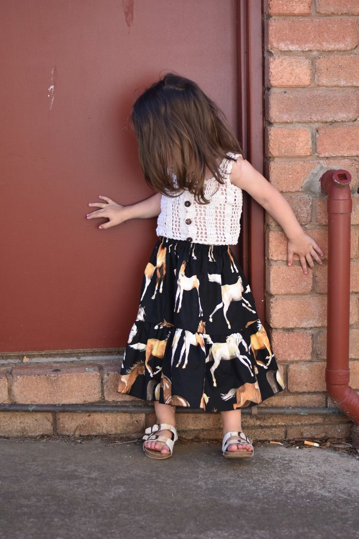 Horse print maxi skirt kids girls fashion horses