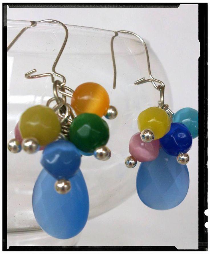1 briolette bead earrings/OOAK/ Cat eye colorful dangling earrings,gift for her,octomber original by SueEllenDreamland on Etsy