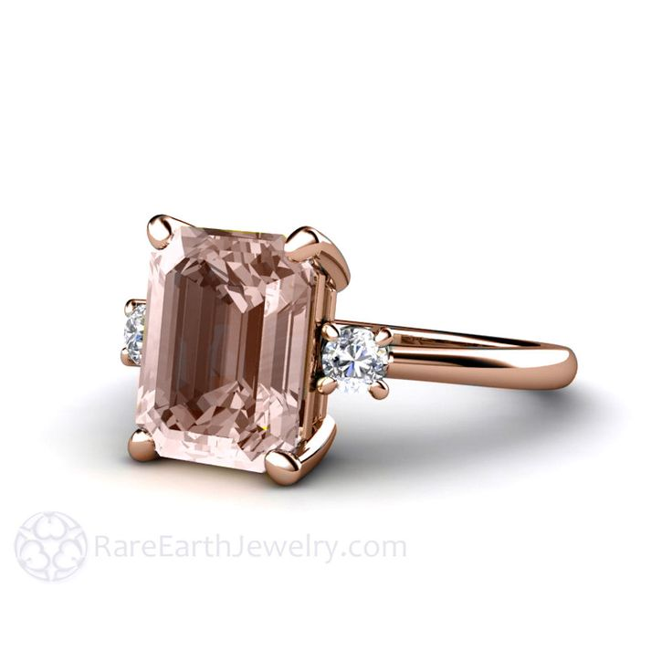 Morganite Engagement Ring Emerald 3 Stone with Diamonds – Rare Earth Jewelry - w white sapph trillions instead of rounds?