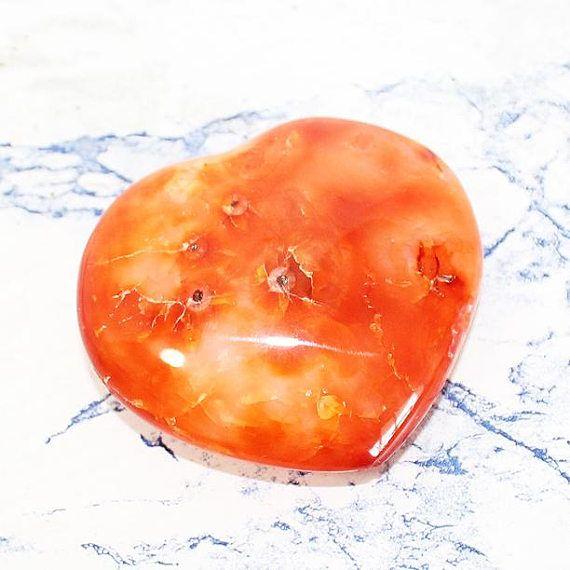 Carnelian Agate Crystal Heart Carved Crystal Agate Heart