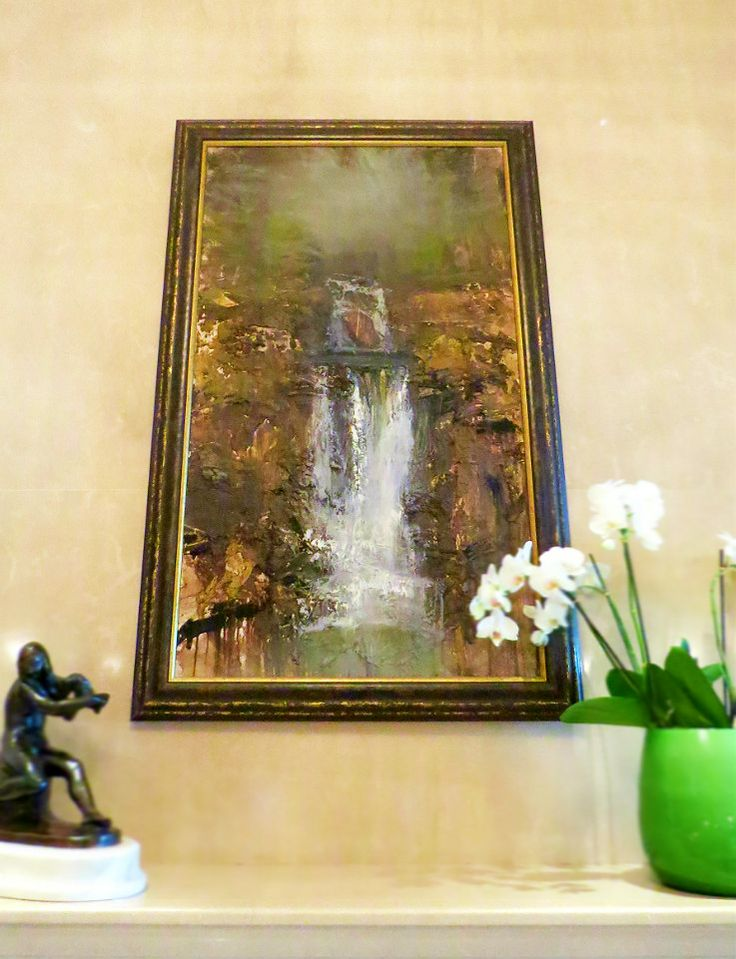 "A beautiful and expressive painting, ""Waterfall"" by Kristian Horvath at the Concierge Desk at Four Seasons Hotel Gresham Palace Budapest."