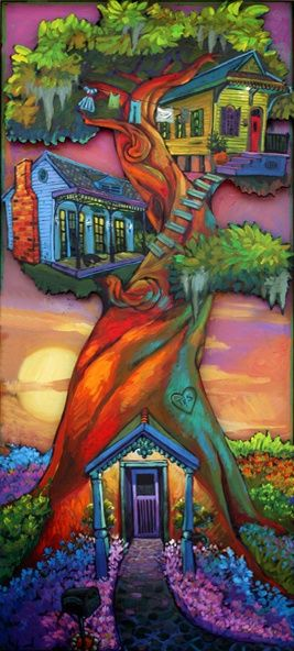 """Terrance Osborne """"Humble Abode"""" - brightly colored painting of treehouses in a twisted tree"""