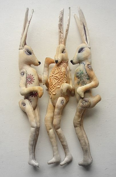 """Finch *Mister Finch """"Jointed Hare Doll with lace detail"""""""