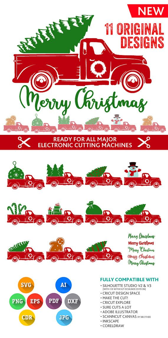Christmas Truck SVG Christmas Tree Truck Svg Truck Svg Monogram Frames SVG DXF Silhouette Studio Png Eps Pdf Jpg Ai Cdr Silhouette, Cricut