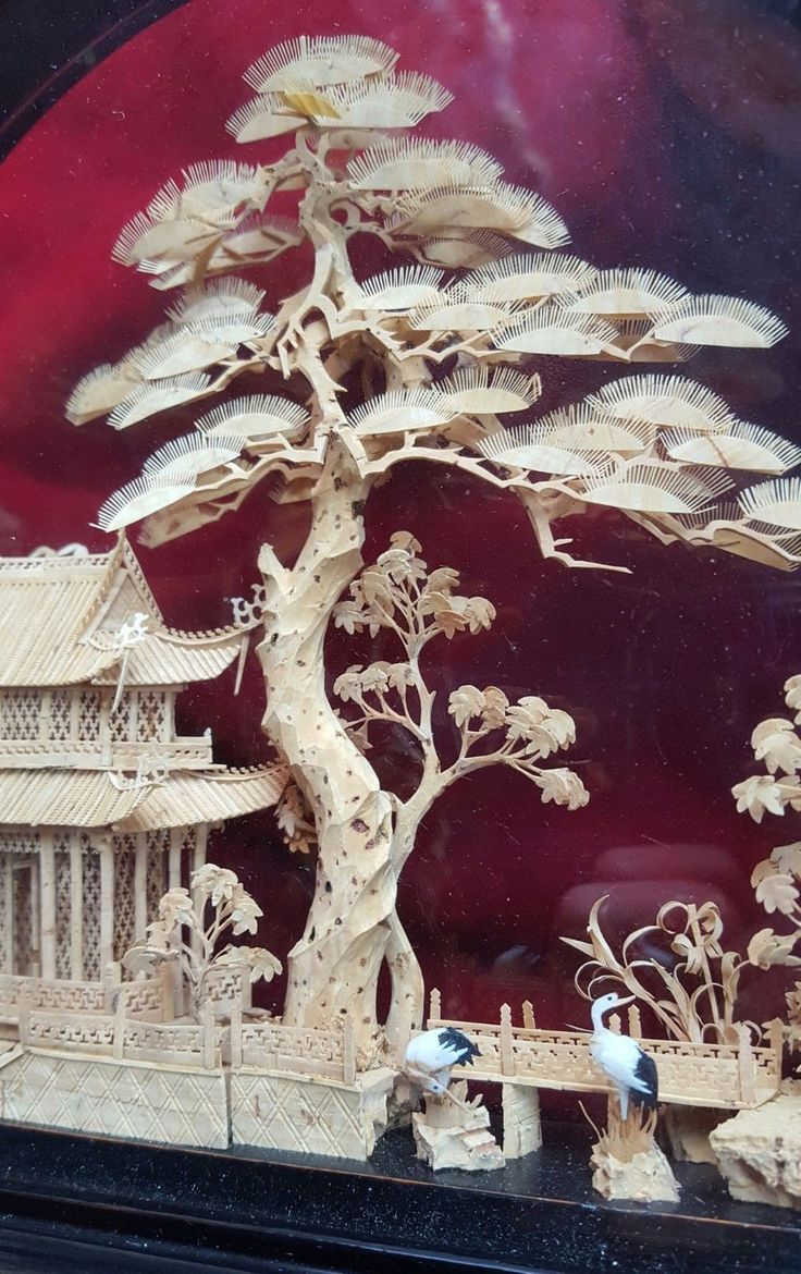 Vintage Chinese Pagoda Diorama - Cork Carving with Amazing Detail