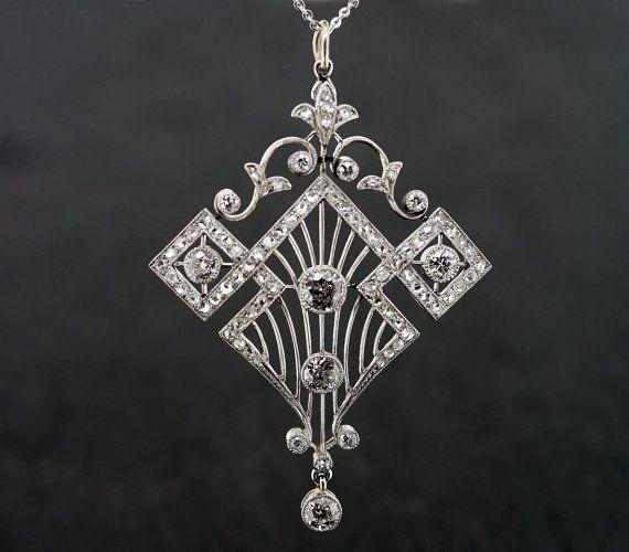 art deco pendant | Antique Art Deco Pendant - Vintage 1920s Diamond Art Deco Pendant