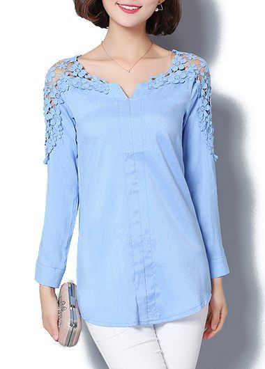 Light Blue Split Neck Lace Panel Curved Blouse on sale only US$26.37 now, buy cheap Light Blue Split Neck Lace Panel Curved Blouse at lulugal.com