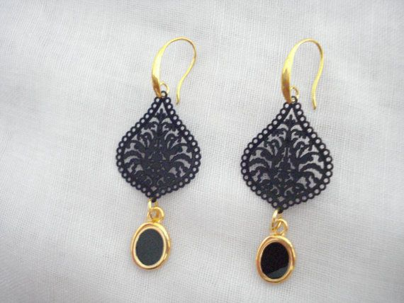 Black metal lace drops Black charm dangles Gift for her by Poppyg