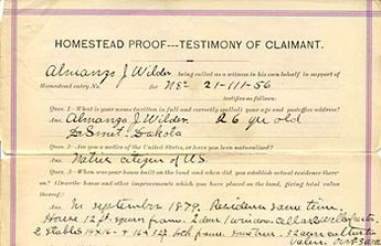 Top portion of Almanzo Wilder's homestead proof. (Records of the Bureau of Land Management, RG 49)