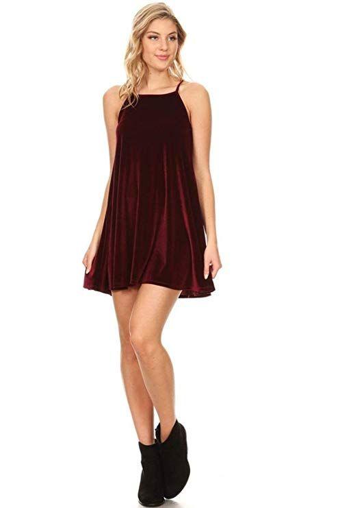 adc49a42fe8 Vibe Sportswear Velvet Sleeveless High Neck Trapeze Dress (Small ...