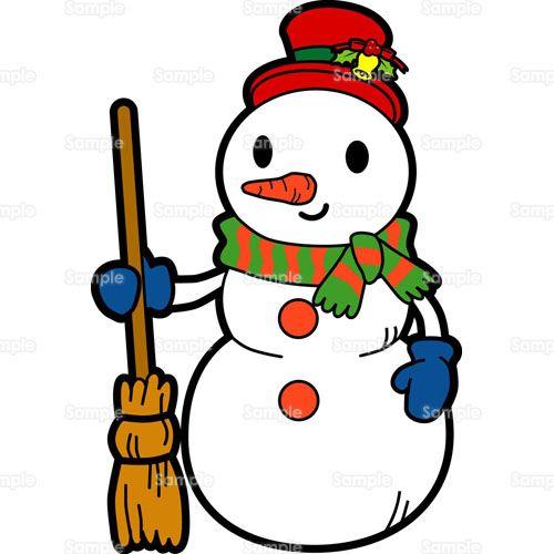 クリスマス;雪だるま,ほうき,