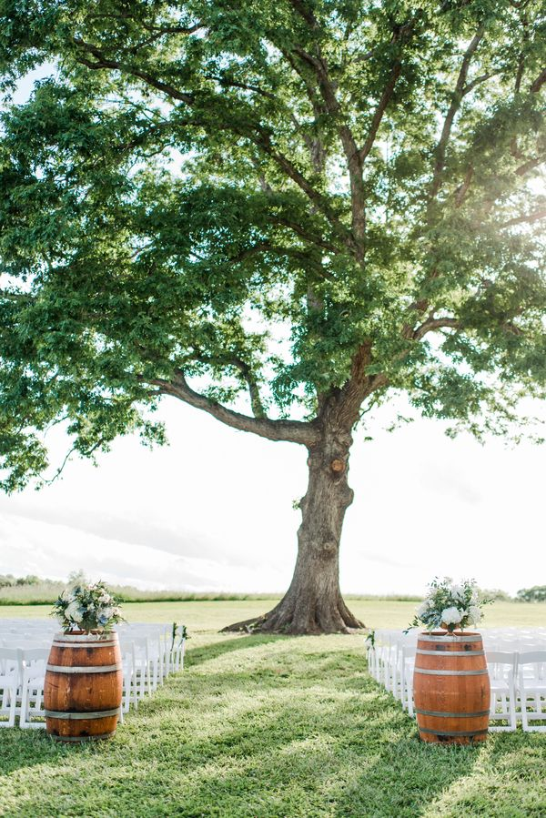 Wine barrels can help to really frame your outdoor ceremony space