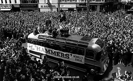 West Ham parading the FA Cup 1964