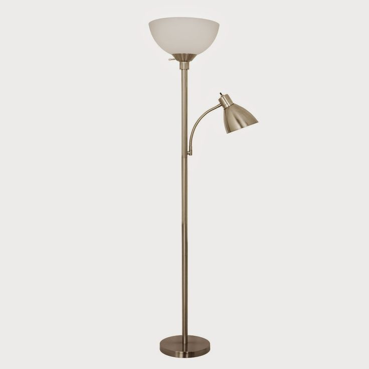 Home Design 150 Watt Floor Lamp with Side Reading Light (Satin Nickel) - Store Online for Your Live and Style