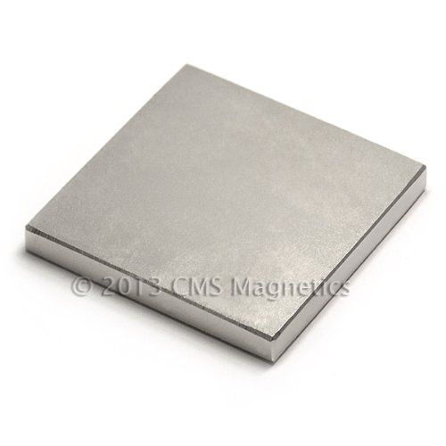"N40 2"" x 2"" x 1/4"" Block, Package of 2 Rare Earth Neodymium Magnets. 48 lbs. Neodymium Iron Boron (NdFeB) Rare Earth Magnets. They are composed of grade N40 neodymium iron boron magnetic material and are plated in nickel-copper-nickel for a shiny corrosion resistant finish. Pulling Force. Their individual pull force is approximately 48 lbs. These magnets are 2 inch x 2 inch x 1/4 .0.25. inch blocks. They are amazingly powerful for their size and have innumerable uses."