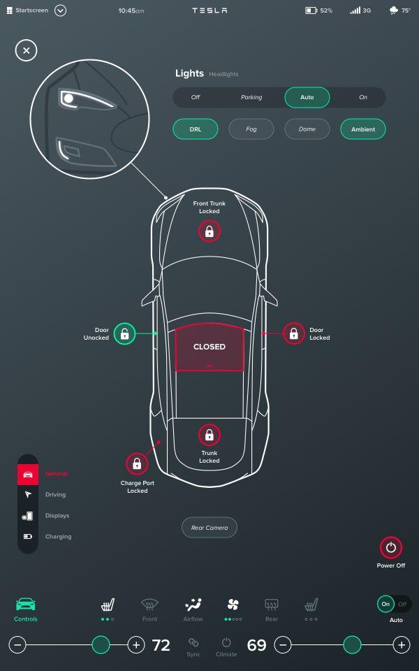 Tesla Interface Konzept