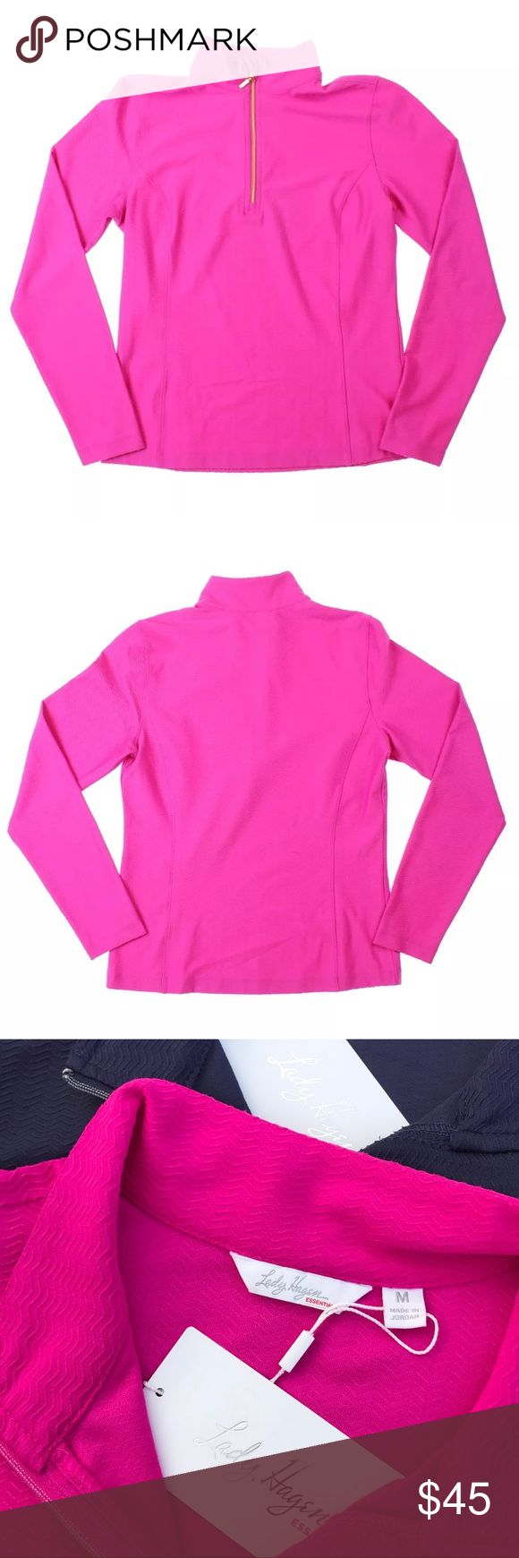 Lady Hagen quarter zip up long sleeve shirt Listing is for Lady Hagen quarter zip long sleeve shirt. Color is pink berry. Has UV protection along with hydrodri fabric keeps you cool and dry by moving sweat away from your skin. I personally use these for working out and they are beyond amazing in wicking away moisture. Retail $50 each. Lady Hagen Tops Tees - Long Sleeve