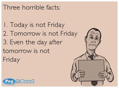 Three horrible facts:    1. Today is not Friday  2. Tomorrow is not Friday  3. Even the day after  tomorrow is not  Friday